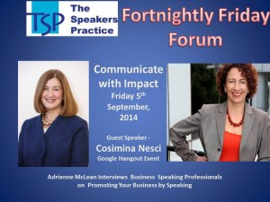 TSP Fortnightly Free Friday Forum Cosimina Nesci