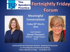 TSP Fortnightly Free Friday Forum Glenda Thompson