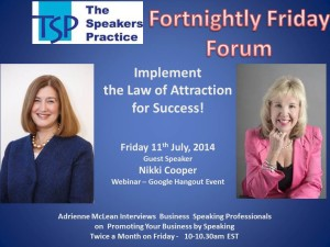 TSP-Fortnightly-Free-Friday-Forum-Nikki-Cooper-11th-July-2014